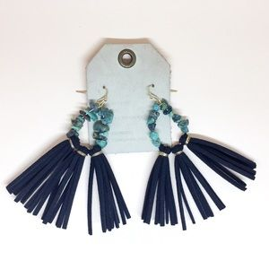 NWT Anthropologie Navy Leather Tassels Earrings